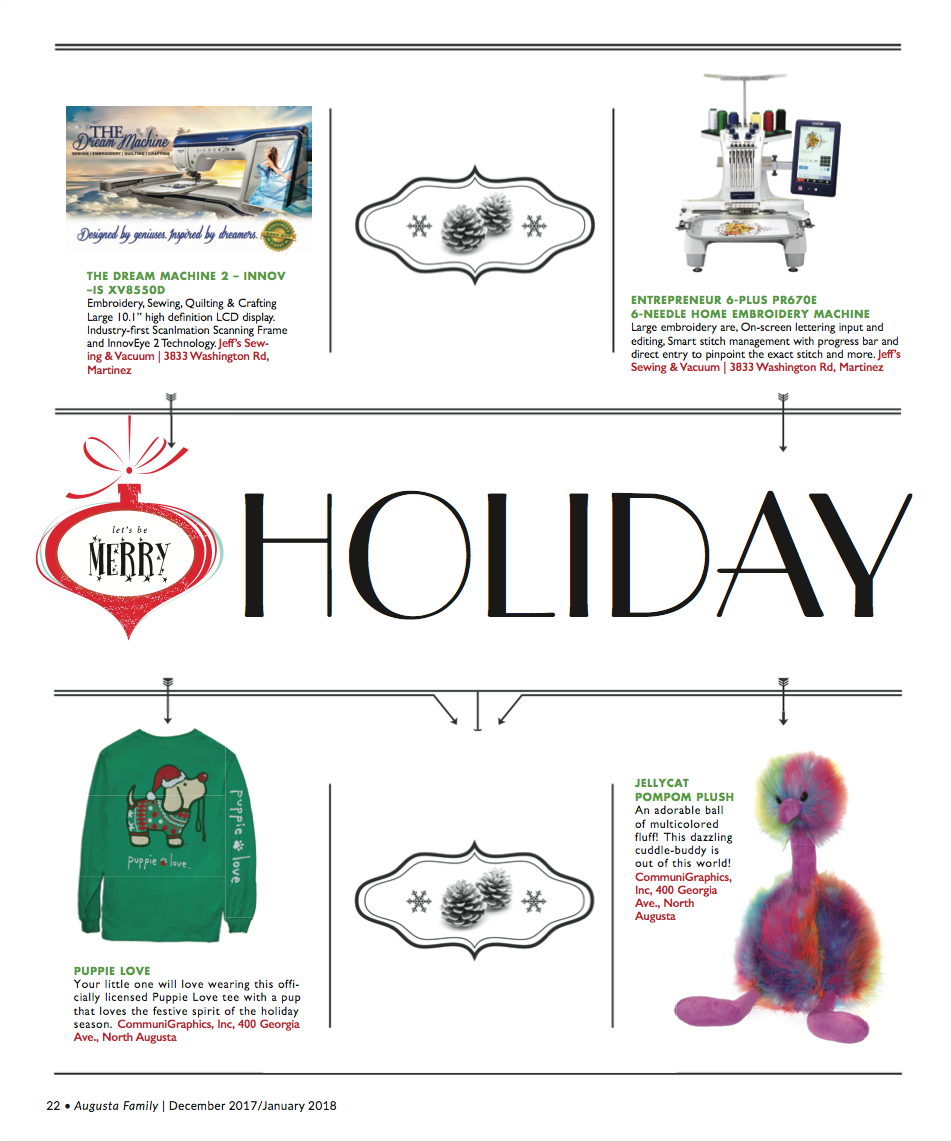 81471bb18881 Holiday Gift Guide. This article appears in the December 2017 January 2018  issue of Augusta Family Magazine. Did you like what you read here